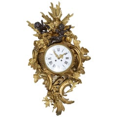French 19th Century Rococo Cartel Wall Clock, in the Louis XVI Style