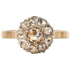 French 19th Century Rose Cut Diamonds 18 Karat Yellow Gold Daisy Ring