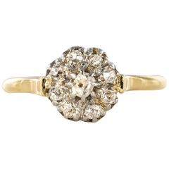 French 19th Century Rose Cut Diamonds 18 Karat Yellow Gold Flower Shape Ring