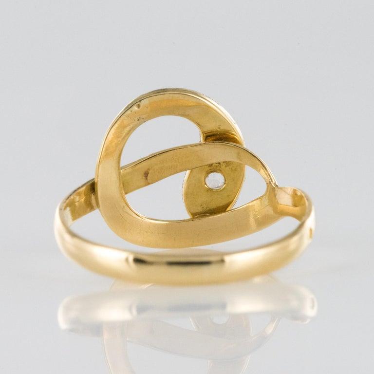 French 19th Century Rose-Cut Diamonds 18 Karat Yellow Gold Snake Ring For Sale 4