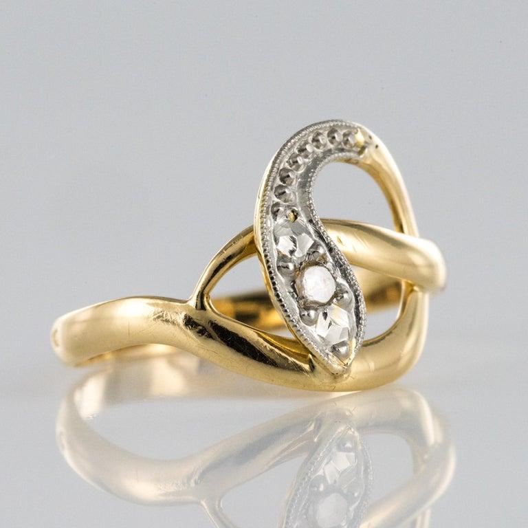 French 19th Century Rose-Cut Diamonds 18 Karat Yellow Gold Snake Ring For Sale 5