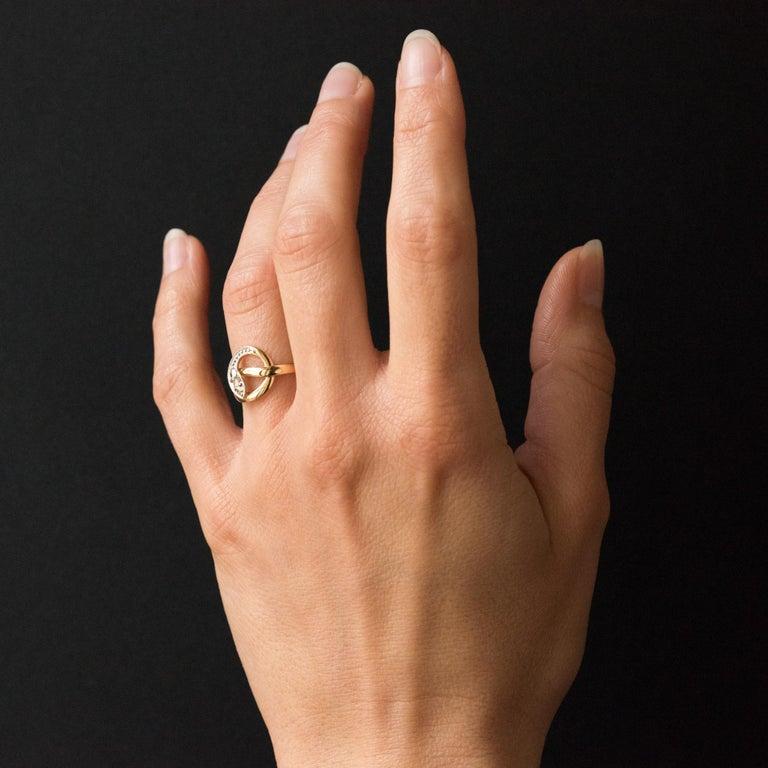 French 19th Century Rose-Cut Diamonds 18 Karat Yellow Gold Snake Ring For Sale 6