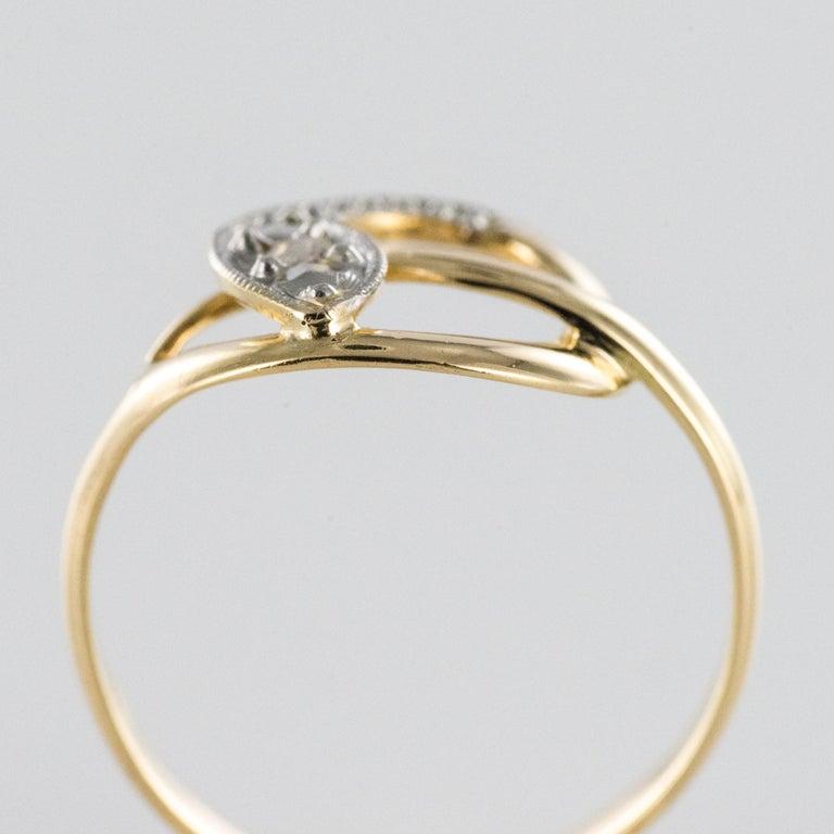 French 19th Century Rose-Cut Diamonds 18 Karat Yellow Gold Snake Ring For Sale 7