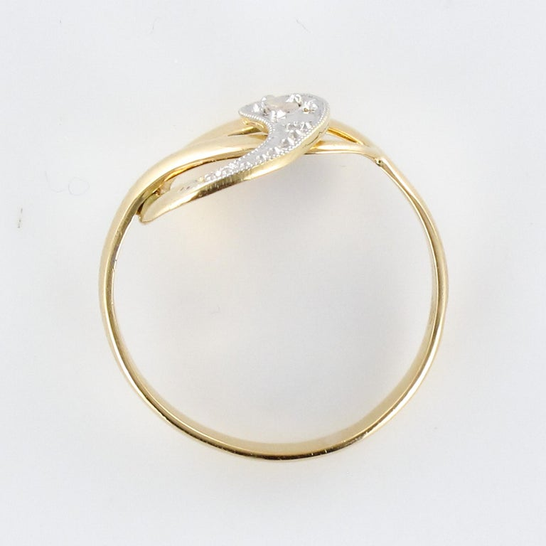 French 19th Century Rose-Cut Diamonds 18 Karat Yellow Gold Snake Ring For Sale 8