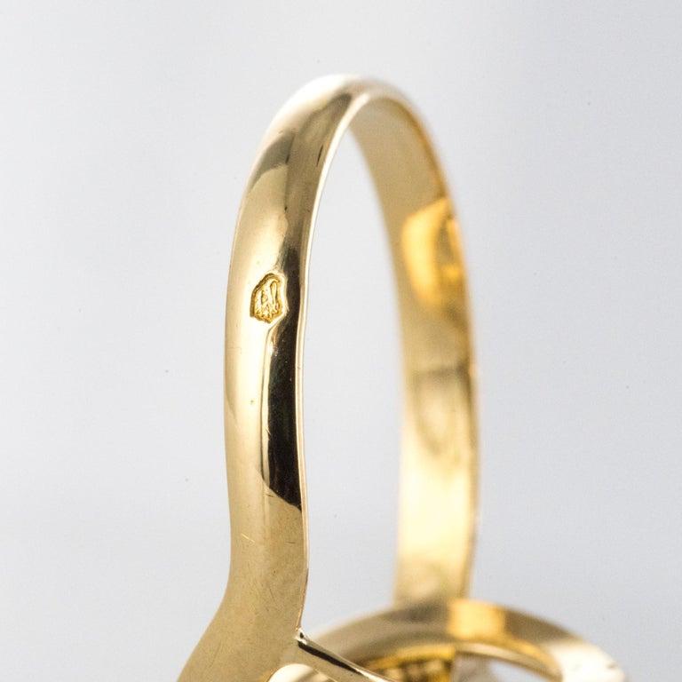 French 19th Century Rose-Cut Diamonds 18 Karat Yellow Gold Snake Ring For Sale 9