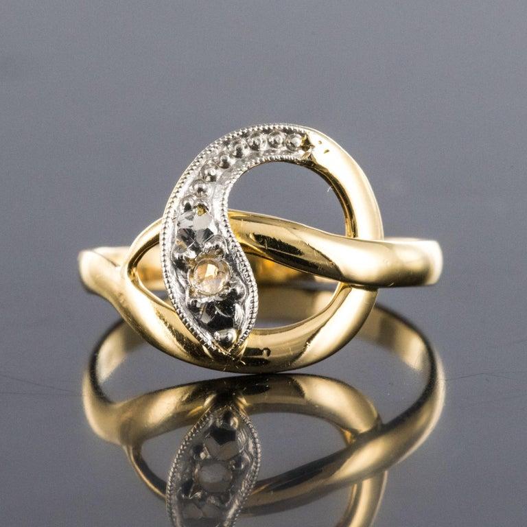 Napoleon III French 19th Century Rose-Cut Diamonds 18 Karat Yellow Gold Snake Ring For Sale