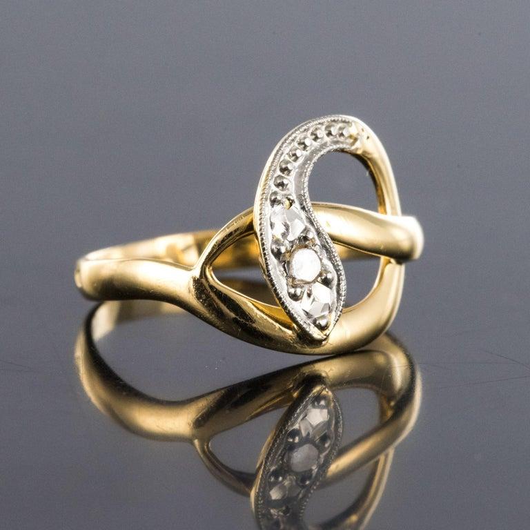 Rose Cut French 19th Century Rose-Cut Diamonds 18 Karat Yellow Gold Snake Ring For Sale