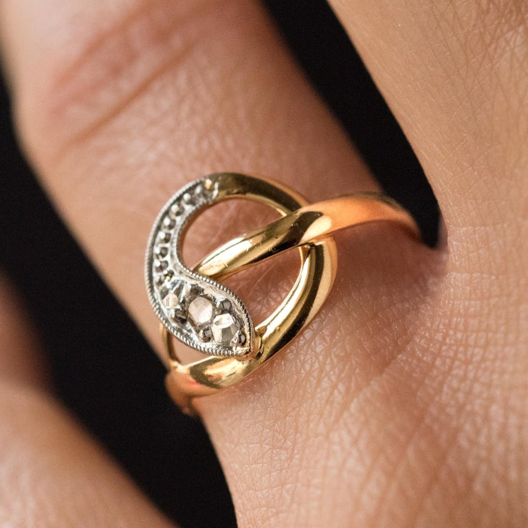 French 19th Century Rose-Cut Diamonds 18 Karat Yellow Gold Snake Ring In Good Condition For Sale In Poitiers, FR