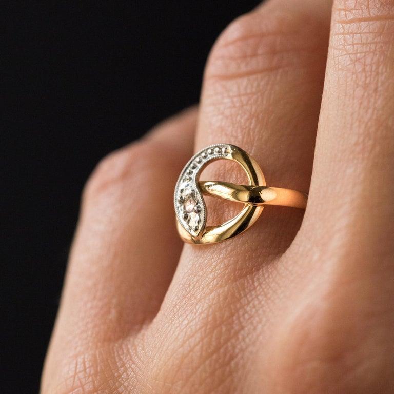 Women's French 19th Century Rose-Cut Diamonds 18 Karat Yellow Gold Snake Ring For Sale