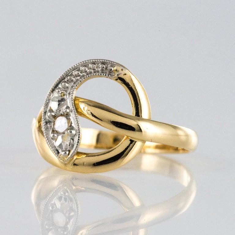 French 19th Century Rose-Cut Diamonds 18 Karat Yellow Gold Snake Ring For Sale 1
