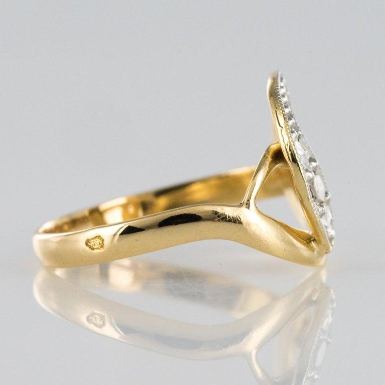 French 19th Century Rose-Cut Diamonds 18 Karat Yellow Gold Snake Ring For Sale 2