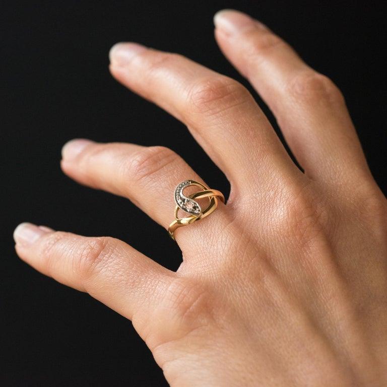 French 19th Century Rose-Cut Diamonds 18 Karat Yellow Gold Snake Ring For Sale 3