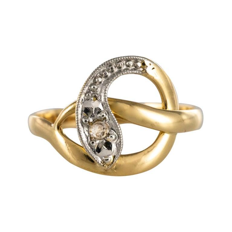French 19th Century Rose-Cut Diamonds 18 Karat Yellow Gold Snake Ring For Sale