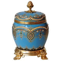French 19th Century Round Enameled and Ormolu-Mounted Casket