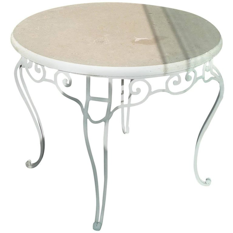 French 19th Century Round Stone Table Top on Painted White Iron Stand