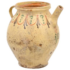 French 19th Century Rustic Glazed Pottery Olive Oil Pot with Polychrome Motifs