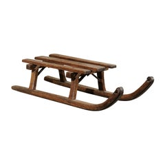 French 19th Century Rustic Small Size Wooden Sled with Weathered Patina