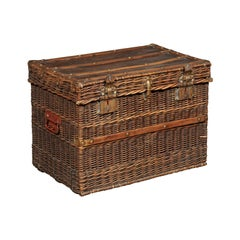 French 19th Century Rustic Wicker Trunk with Brass Hardware and Red Handles