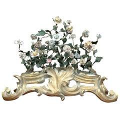 French 19th Century Saint-Cloud Porcelain Tole Floral Centerpiece