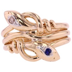 French 19th Century Sapphire Diamond 18 Karat Yellow Gold Snake Men's Ring