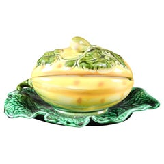 French 19th Century Sarreguemines Majolica Lidded Squash with Green Leaf Dish