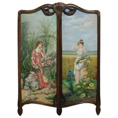 French 19th Century Screen with Oil Paintings Panels