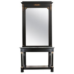 French 19th Century Second Empire Ebony Console and Mirror