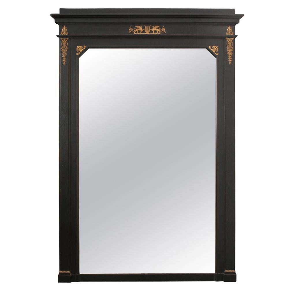 French 19th Century Second Empire Ebony Trumeau Mirror