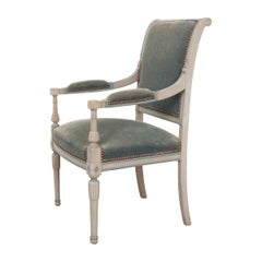 French 19th Century Second Empire Painted Fauteuil