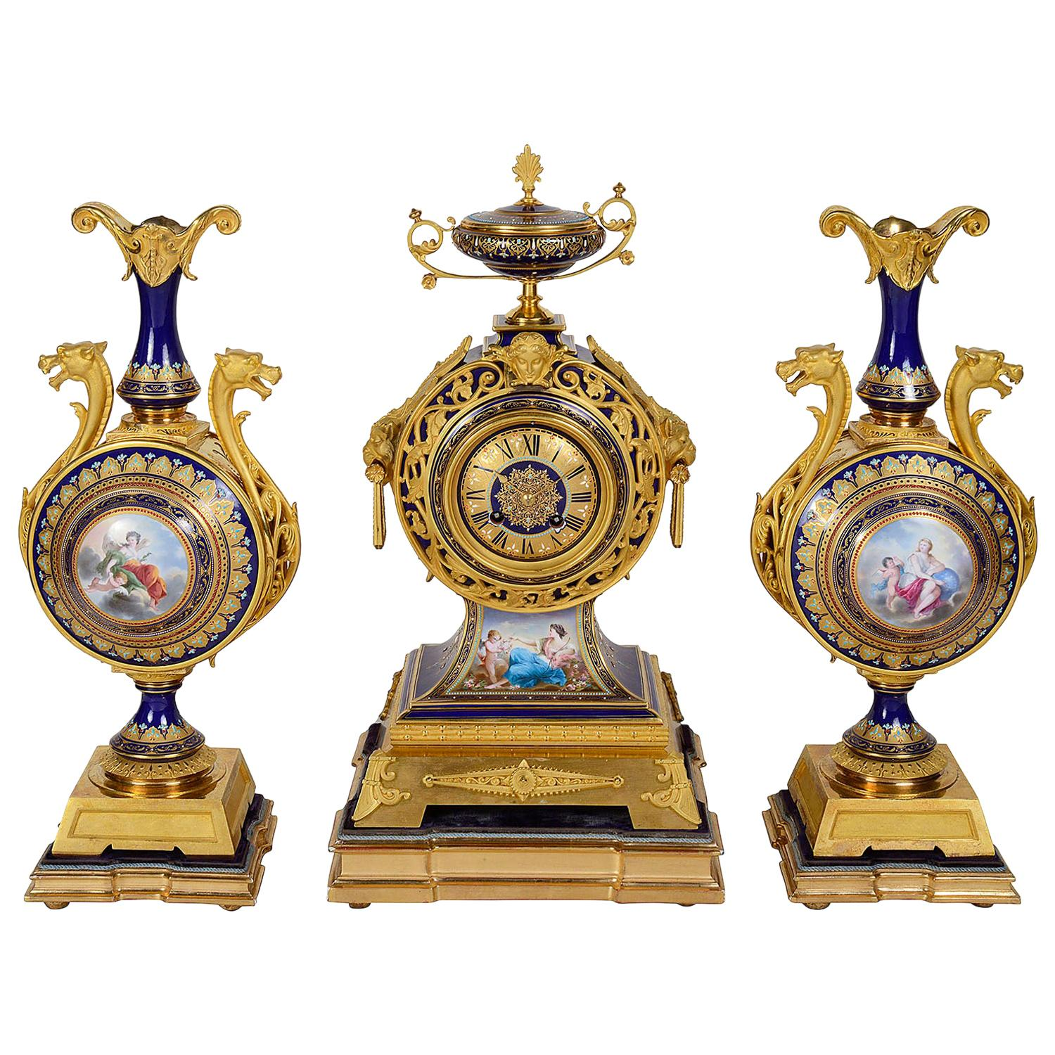 French 19th Century Sevres Style Clock Garniture
