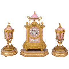 French 19th Century Sevres Style Clock Set