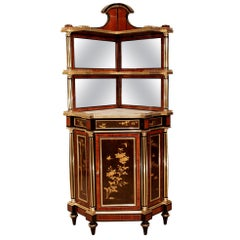 French 19th Century Signed Corner Cabinet Signed Heubès