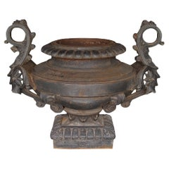 French 19th Century Signed Patinated Wrought Iron Urn