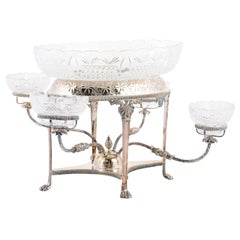 French 19th Century Silver Epergne with Cut Glass Bowls and Repoussé Motifs