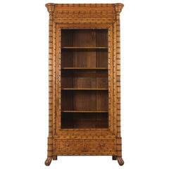 French 19th Century Single Door Bamboo Bookcase
