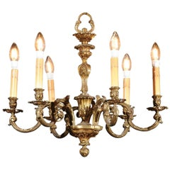 French 19th Century Six-Light Bronze Chandelier with Foliage and Scrolling Arms