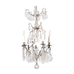 French 19th Century Six-Light Crystal Chandelier with Silvered Iron Armature