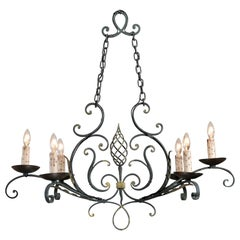 French 19th Century Six-Light Iron Chandelier with Spiral and Scrolling Arms