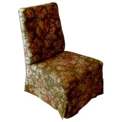 French 19th Century Slipper Chair with Floral Pattern Fabric