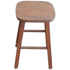 French 19th Century Small 4-Leg Wood Stool