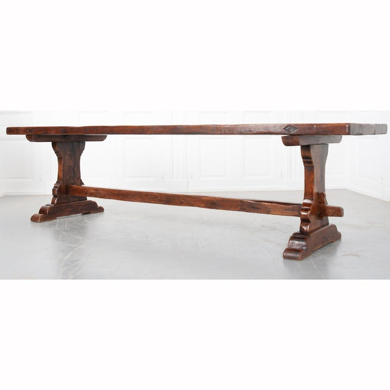 French 19th Century Solid Oak Trestle Table 7