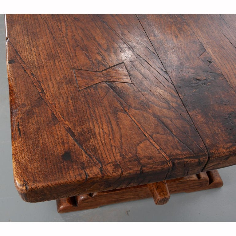 French 19th Century Solid Oak Trestle Table In Good Condition In Baton Rouge, LA
