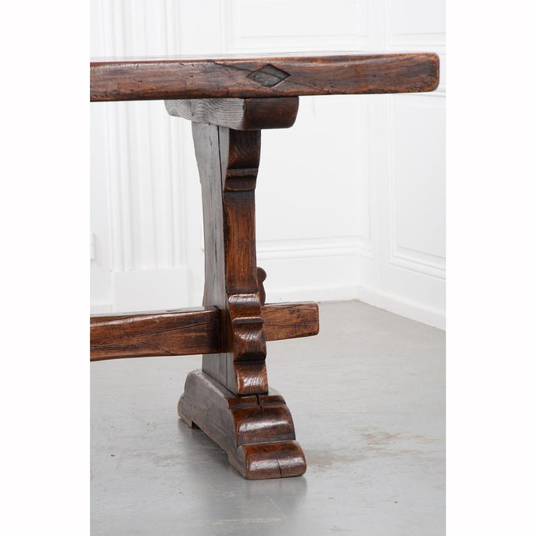 French 19th Century Solid Oak Trestle Table 3