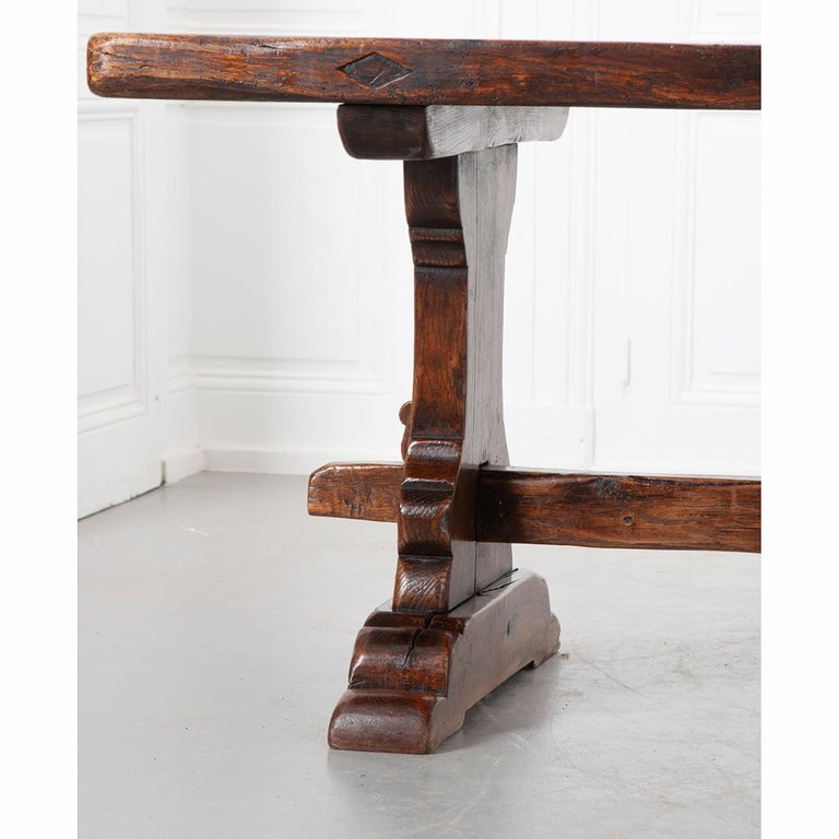 French 19th Century Solid Oak Trestle Table 4