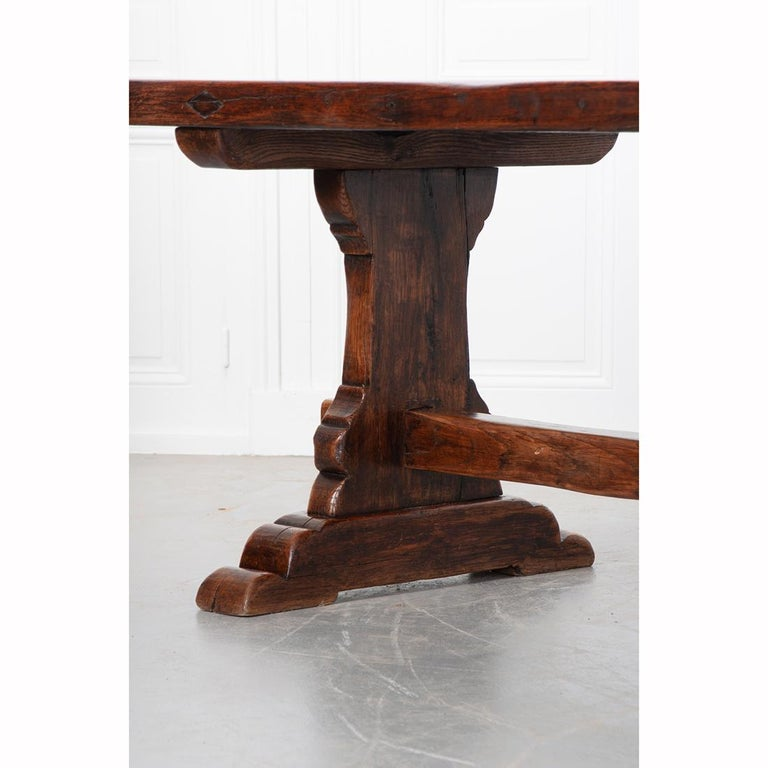 French 19th Century Solid Oak Trestle Table 5