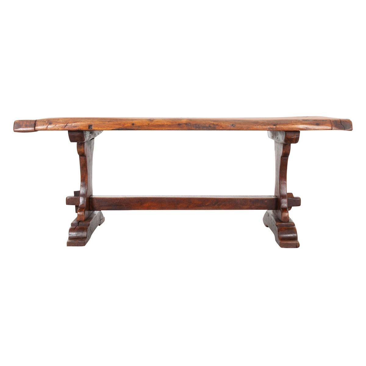 French 19th Century Solid Oak Trestle Table