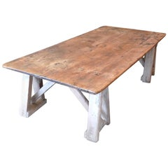French 19th Century Stained Pinewood Coffee Table Top on Two Pinewood Sawhorses