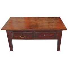 French 19th Century Stained Walnut and Pine Coffee Table with Two Deep Drawers