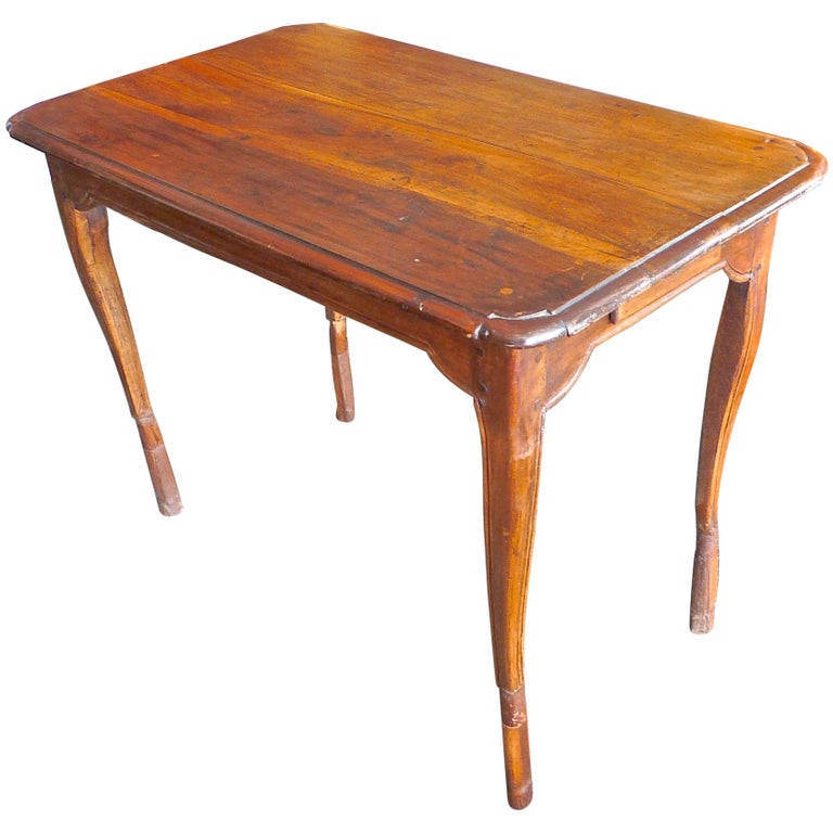 French 19th Century Stained Walnut Side Table Or Desk With Two Small End Drawers For