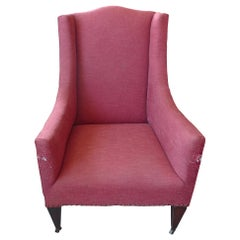 French 19th Century Stained Walnut Wing Backed Armchair on 4 Castors